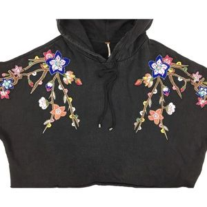 Free People Oversized Embroidered Hoodie Size XS